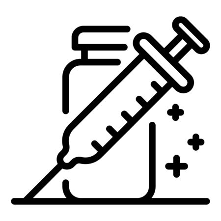 Syringe and potion icon, outline style