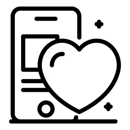 Smartphone and heart health icon, outline style Illustration