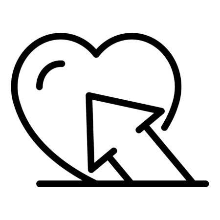 Arrow and heart icon. Outline arrow and heart vector icon for web design isolated on white background