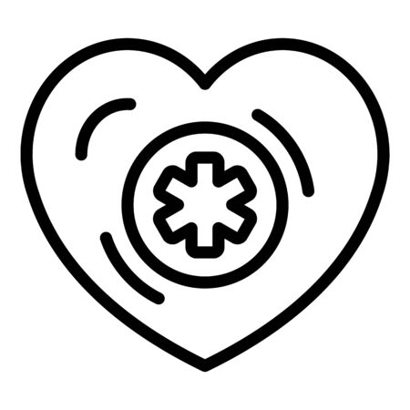 Medical cross in heart icon, outline style