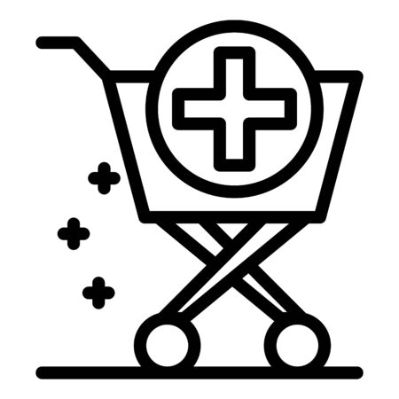 Pharmacy trolley icon, outline style
