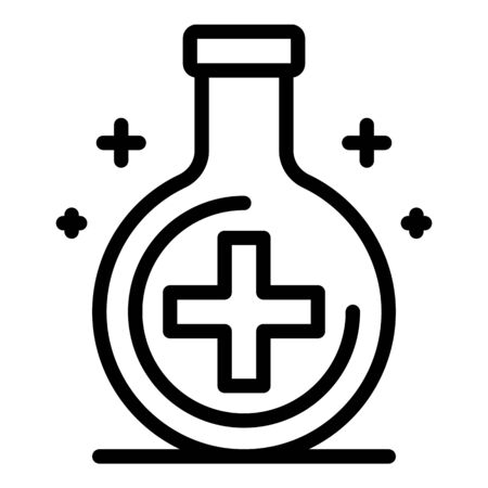 Flask with a medical cross icon. Outline flask with a medical cross vector icon for web design isolated on white background Çizim