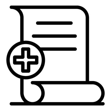 Medical document icon, outline style