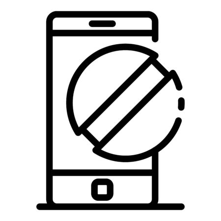 Smartphone and pill icon, outline style  イラスト・ベクター素材