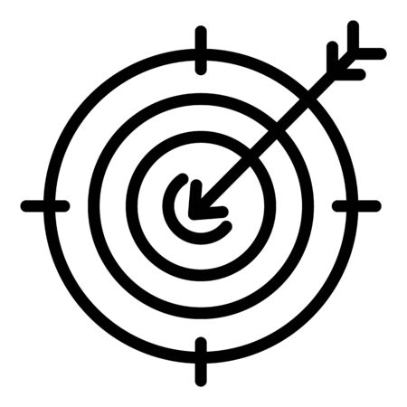 Arrow on target icon, outline style Çizim