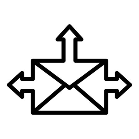Envelope with arrows icon, outline style 일러스트