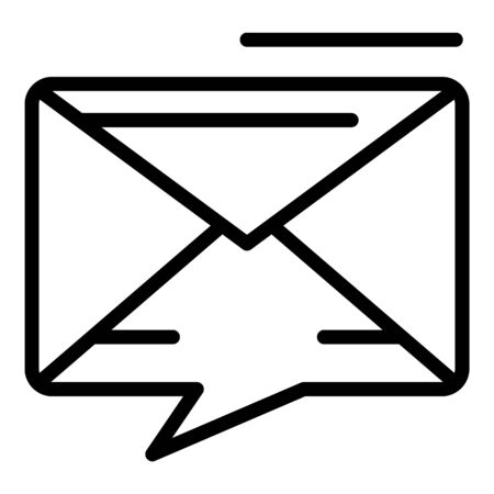 Chat bubble envelope icon, outline style