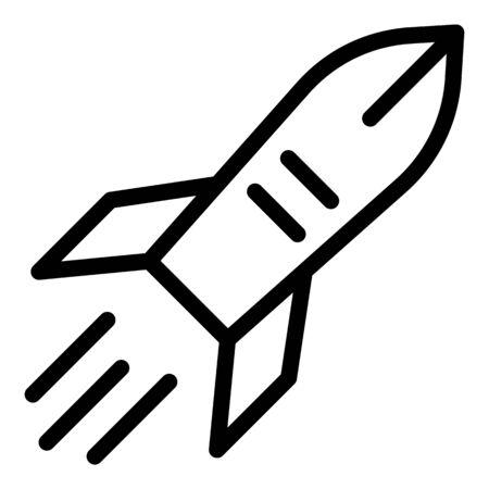 Rocket in flight icon, outline style 일러스트