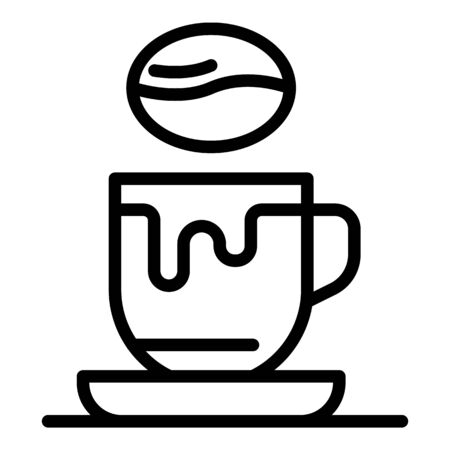 Cup of coffee and bean icon. Outline Cup of coffee and bean vector icon for web design isolated on white background