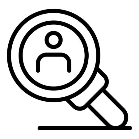 Person under the magnifier icon, outline style Ilustrace