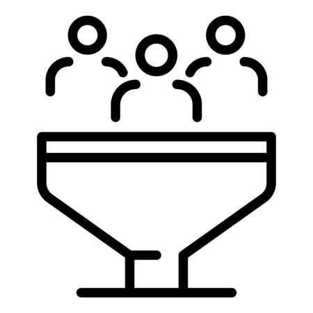 People in the sales funnel icon. Outline people in the sales funnel vector icon for web design isolated on white background