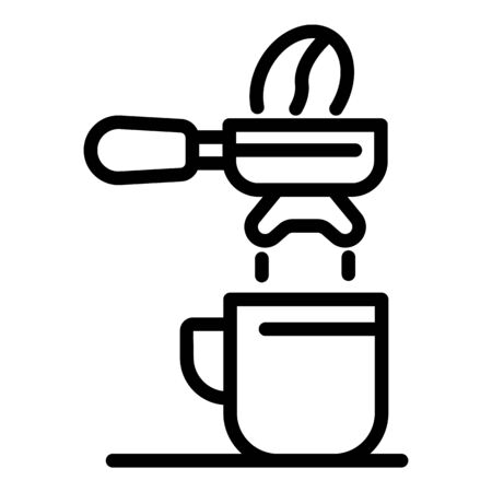 Coffee holder and cup icon, outline style Illusztráció