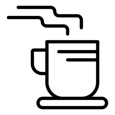 Big cup of coffee icon. Outline big cup of coffee vector icon for web design isolated on white background Çizim