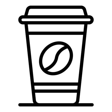 Plastic cup of coffee icon, outline style  イラスト・ベクター素材