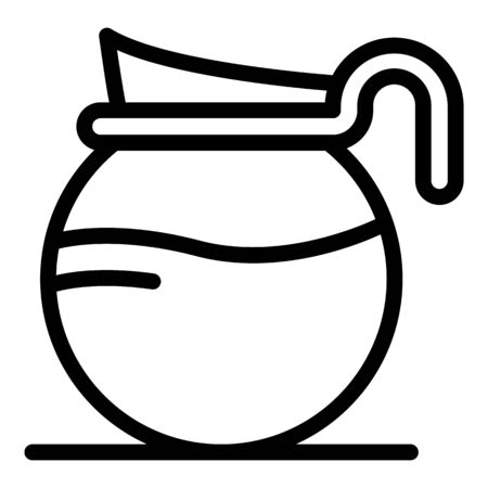 Glass jug for coffee icon, outline style 向量圖像