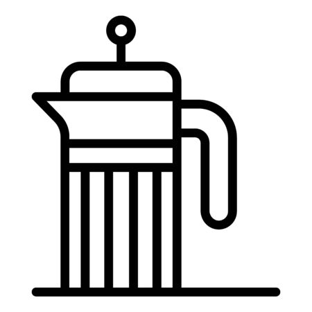 French press icon, outline style