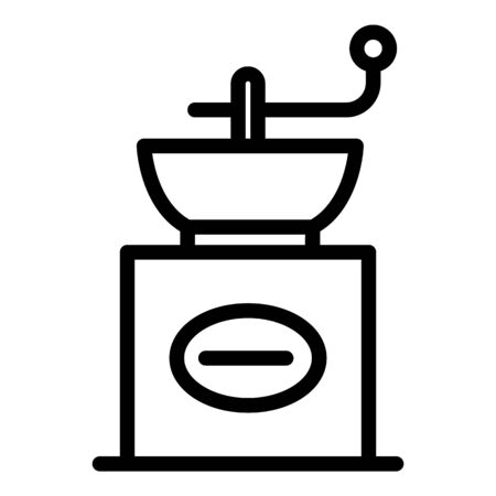 Manual coffee grinder icon, outline style