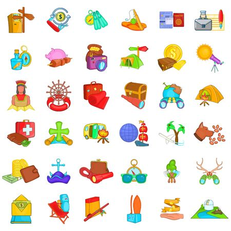 Wild vacation icons set, cartoon style