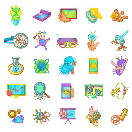 Microbial environment icons set, cartoon style