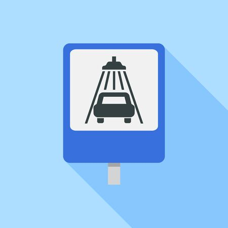 Car wash sign road icon, flat style