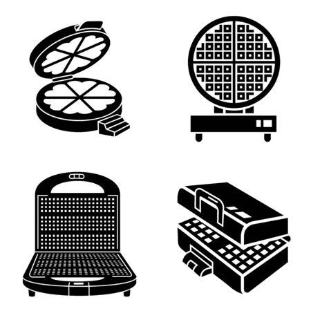 Waffle-iron icons set, simple style Illustration