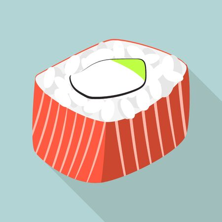 Fish sushi roll icon, flat style