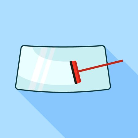 Car cleaning windshield icon, flat style Illustration