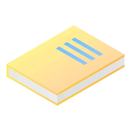 Yellow book icon, isometric style