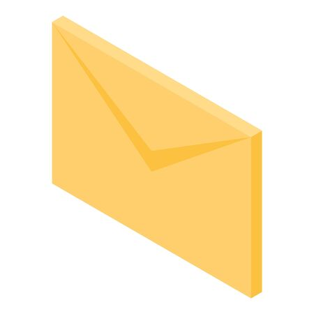 Yellow mail letter icon, isometric style