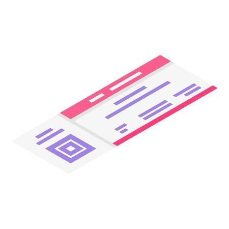 Concert ticket icon, isometric style Illustration