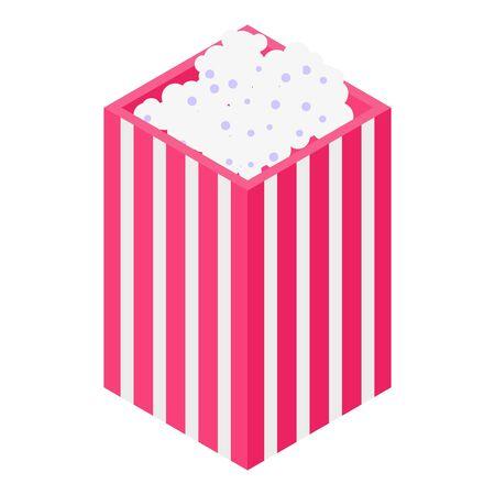 Popcorn bag icon, isometric style