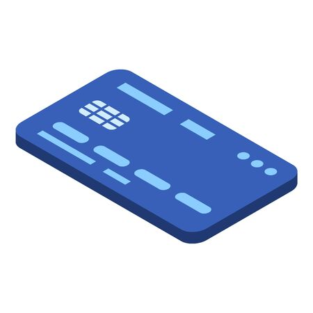 Blue credit card icon, isometric style