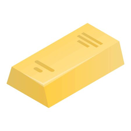 Gold bar icon, isometric style