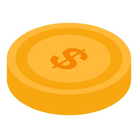 Gold coin icon, isometric style  イラスト・ベクター素材