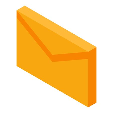 Yellow mail icon, isometric style