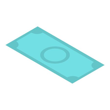 Dollar green banknote icon, isometric style