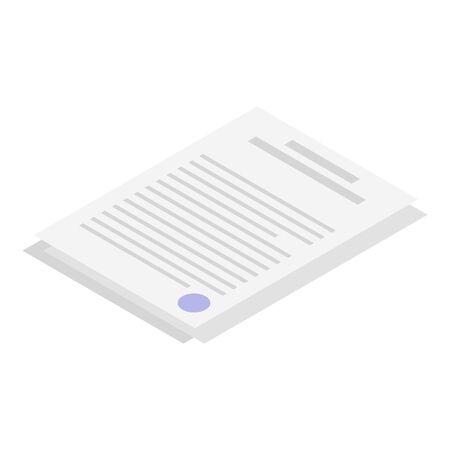 Paper documents icon, isometric style