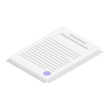 Paper documents icon, isometric style