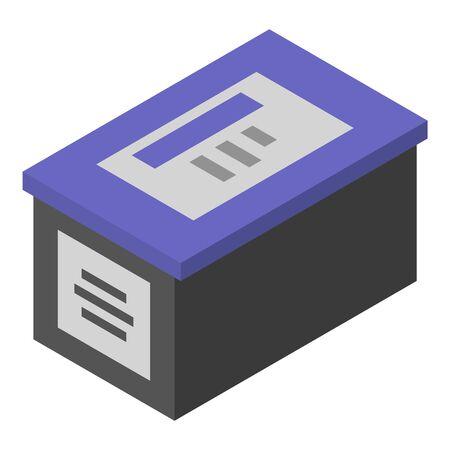 Ink printer box icon, isometric style