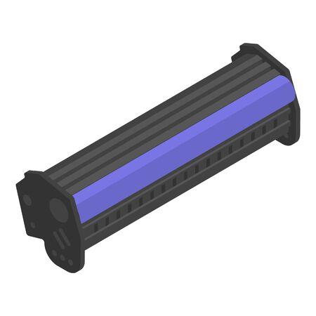 Laser printer toner cartridge icon, isometric style