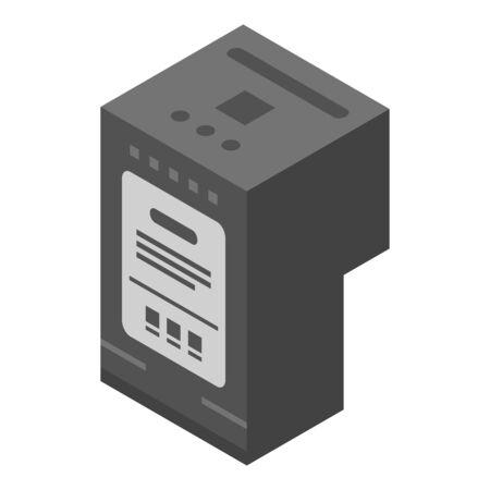 Black ink printer cartridge icon, isometric style
