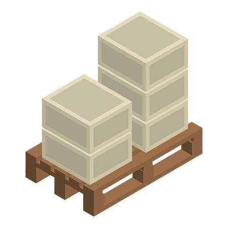Box on padon icon, isometric style Ilustracja