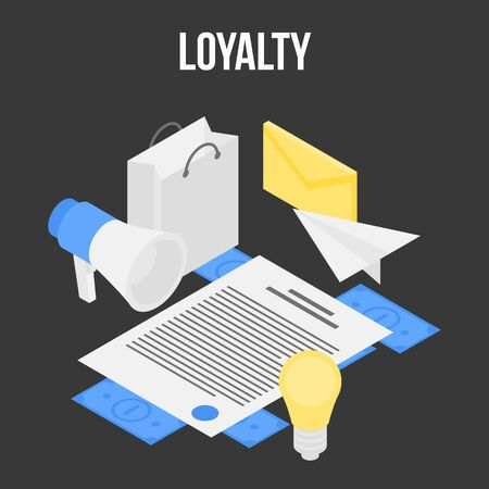 Loyalty concept banner, isometric style