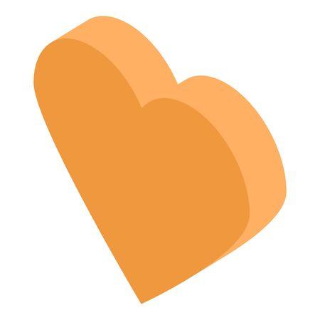 Orange heart icon, isometric style Banco de Imagens - 131102995