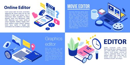 Editor banner set, isometric style