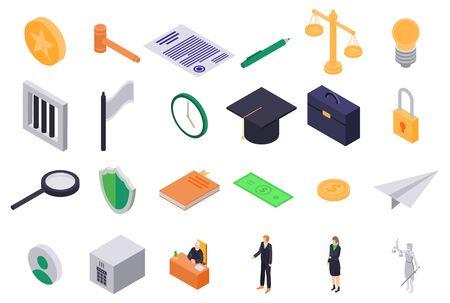 Justice icons set, isometric style Ilustrace