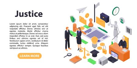 Justice legal concept banner, isometric style