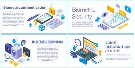 Biometric authentication banner set, isometric style Иллюстрация