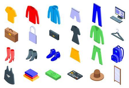 Clothing store icons set, isometric style Illustration