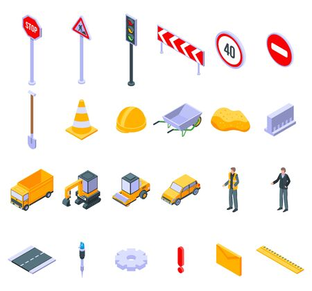 Road repair icons set, isometric style Stock Illustratie